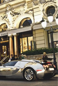 exclusive-pleasure: Veyron PS In front of the Hotel de Paris in Monaco where you can enoy a delicious champagne rosé at the bar before a lobster at the rooftop Grill...