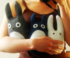 tutorial: how to make stuffed Totoro bunnies from socks. easy enough to hand sew.