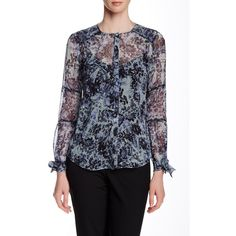 Rebecca Taylor Kiku Tie Cuff Silk Blouse ($105) ❤ liked on Polyvore featuring tops, blouses, ocean spra, silk blouse, rebecca taylor blouse, print blouse, sheer sleeve top and tie blouse