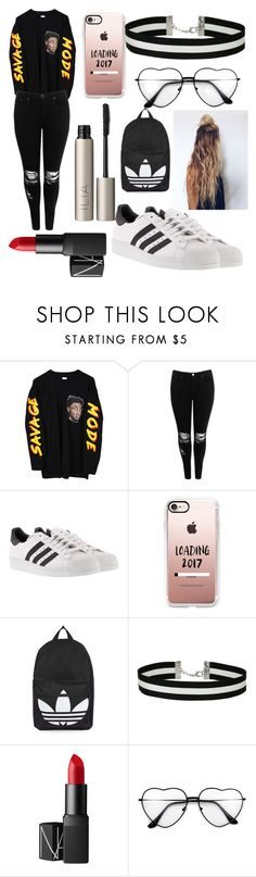 """Savage Mode Outfit Yas"" by goldenelenaisaunicorn on Polyvore featuring Boohoo, adidas, Casetify, Topshop, Miss Selfridge, NARS Cosmetics and Ilia"