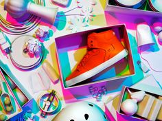 Orange Sneaker- Still photograph of a Lakai sneaker surrounded by other objects als colored shadows. #produktfotografie #still-life #fashion still