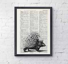 Porcupine on Vintage Dictionary Book altered art by PRRINT on Etsy