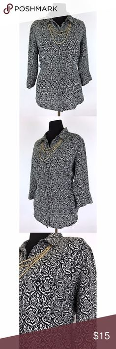 Covington Woman 3/4 Sleeve Swirl Print Button Down Ladies 100% polyester 3/4 sleeve button down with swirl heart print pattern. Size listed as 16-18W. Pre-owned.  Measurements- Sleeve: 18in Shoulder to shoulder: 18in Waist: 24in Length: 31in Covington Tops Button Down Shirts