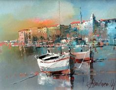 Branko Dimitrijevic, Fishing Boats, Oil on Canvas, 25x20cm
