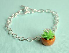 Succulent Cactus Plant Bracelet by PumpkinPyeBoutique on Etsy, $15.00