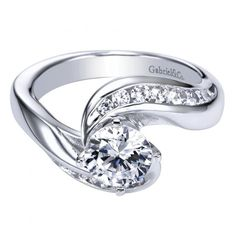 1.55cttw Bypass Style Channel Set Contemporary Round Diamond Engagement Ring