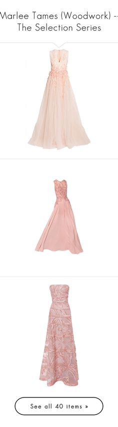 """""""Marlee Tames (Woodwork) -- The Selection Series"""" by lonely-wallflower ❤ liked on Polyvore featuring selection, theelite, theselectionseries, marleetames, dresses, gowns, long dresses, orange, long evening dresses and evening cocktail dresses"""