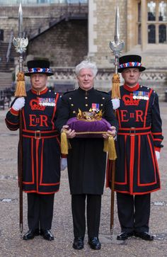 Pageantmaster of the Queen's Diamond Jubilee Beacons Bruno Peek with the Jubilee Crystal Diamond, at the Tower of London, in central London, where the crystal has been kept prior to the Diamond Jubilee celebrations.The Jubilee Crystal Diamond by The British Monarchy, via Flickr