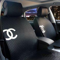 NAME:Luxury Chanel Universal Automobile Sheepskin Car Seat Cover Cushion Sets - Black Sheepskin Car Seat Covers, Chanel Decor, Cute Car Accessories, Vehicle Accessories, Girly Car, Car Interior Decor, Car Seat Cover Sets, Cute Cars, Cars