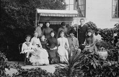 Left to right, back row: Prince Nicholas of Greece, Princess Louise and Princess Victoria of Wales; Crown Prince Constantine of Greece. Seated: Prince Andrew of Greece, Queen Louise of Denmark; Princess Marie of Greece, Alexandra, Princess of Wales; Princess Alexandra of Greece; King Christian IX of Denmark; Princess Maud of Wales