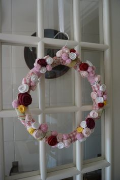 Spring wreath with wire hanger