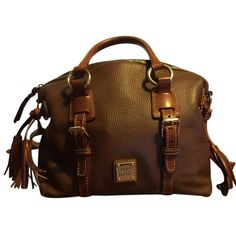 Pre-owned Dooney & Bourke Dome Brown Satchel ($213) ❤ liked on Polyvore featuring bags, handbags, brown, satchel handbags, dome satchel handbag, satchel purses, brown satchel purse and handbag satchel