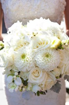 Not sure why, but this bouquet reminds me of you. do you want colorful or all-white for your own bouquet? White Dahlia Bouquet, Dahlia Bridal Bouquet, White Dahlias, White Wedding Bouquets, Bride Bouquets, Bridal Flowers, White Roses, White Flowers, Rose Boquet