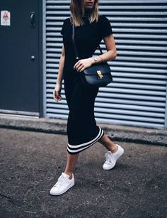 sporty dress with celine box bag and stan smiths