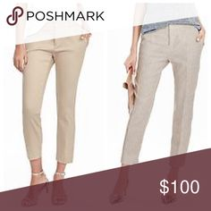 """⭐️2 PAIRS⭐️ Banana Republic Capri Slacks! Includes 2 pairs of Banana Republic petite capri work pants in colors tan and cream. Tan 👖Size: 2P, Waist: 28"""" and Inseam: 23"""". Cream 👖Size: 2P, Waist: 26"""" and Inseam: 21"""". Both gently worn and in excellent condition, like new! This bundle is a $180 value, retailing at $88 per pair. Banana Republic Pants Capris"""