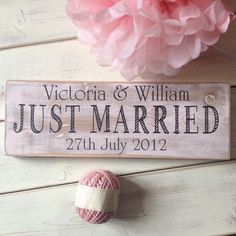 Just Married wedding sign  wedding gift  by IdoVintageSigns