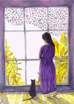 Obrim la finestra, obrim les emocions / Abrimos la ventana, abrimos las emociones / We opened the window, opened the emotions/ Video Chat, Black Cat Art, Black Cats, Illustration Art, Illustrations, Photo Chat, Crazy Cats, Oeuvre D'art, Cute Art
