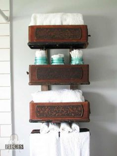 Farmhouse Friday #9 - Farmhouse Collections - Knick of Time using old sewing machine drawers on shelves