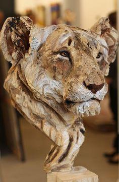 Лев дерево скульптура скульптор искусство природа животное кошка