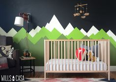 Mountain wall in the nursery! I just did one for mine, wish I had seen this!