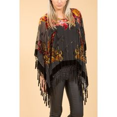 Jayley Black Silk Devore Butterfly Poncho found on Polyvore featuring women's fashion, outerwear and silk poncho