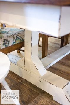 long trestle farmhouse dining table with espresso top and white painted legs and matching bench Farmhouse Dining Table Set, Dining Table With Bench, Dinning Room Tables, A Table, Table Legs, Trestle Dining Tables, Farmhouse Furniture, Rustic Furniture, Farmhouse Decor