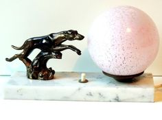 French Vintage Art Deco Table Lamp With A Spelter Greyhound On A Marble Base Art Deco Table Lamps, French Vintage, Vintage Art, Globe Lights, Glass Globe, Types Of Metal, Vintage Items, Sculptures, Marble