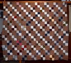 patchwork-quilt-cotton-top-64-x-60-early-antique-browns-1800s.    Easy quilt , use scraps just need a good background as that makes it , love the use of lights left to right