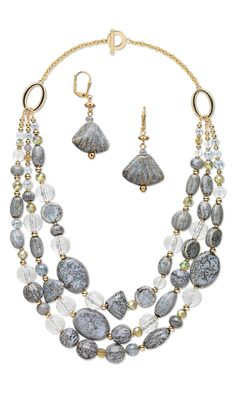 Triple-Strand Necklace and Earring Set with Glazed Porcelain Beads, Acrylic Beads and Czech Glass Beads