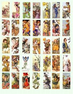 Vintage Victorian butterfly flower fairy fairies clip art collage sheet 7/8 x 1 7/8 inch images>