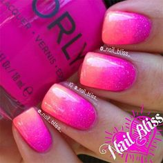 15 Cute Pink Summer Nail Art Designs, Ideas, Trends & Stickers 2014 - Just Beauty Pink Summer Nails, Pink Ombre Nails, Pink Glitter, Hot Pink Nails, Coral Nails, Glitter Art, Gradient Nails, Ombre Nail Art, Purple And Pink Nails