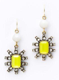 neon yellow drop earrings