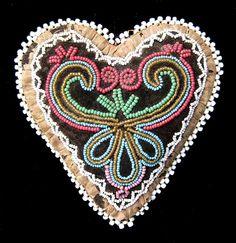 Iroquois beaded heart pincushion