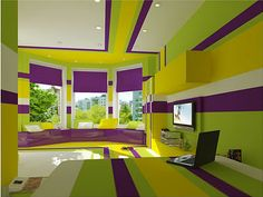 The Split Complementary Colors In This Room Are Green Yellow And Purple They Added Horizontal Lines To Make Seem More Relaxing