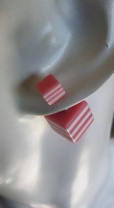Boucles d'oreilles Tendances Rayées Rose/Blanc