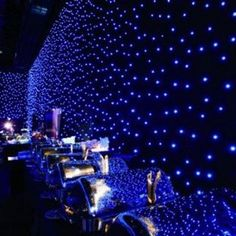 LED Star Drape - maybe for the walls? Galaxy Wedding, Blue Wedding, Dream Wedding, 50s Wedding, Wedding Reception, Wedding Stuff, Prom Themes, Wedding Themes, Wedding Decorations