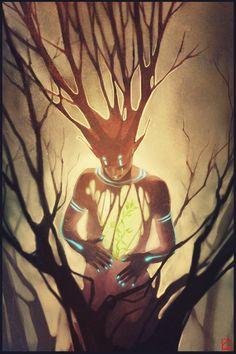 ☆ Forest Spirit :¦: By Artist Alexandra Khitrova ☆ Fantasy Creatures, Mythical Creatures, Fantasy World, Fantasy Art, Illustrations, Illustration Art, Angel Demon, Citations Photo, Nature Spirits