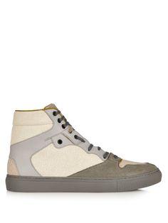 BALENCIAGA Cracked-Leather High-Top Trainers. #balenciaga #shoes #sneakers