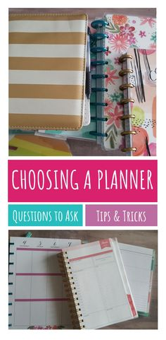Tips for choosing a planner that will really help you own your day. Happy planner, Erin Condren Planner and many others are discussed here 2017 Planner, Planner Tips, Planner Supplies, Planner Pages, Happy Planner, Mom Planner, Household Binder, Planner Organization, Organizing Tips