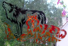 WICOART STICKER WINDOW COLOR CLING FAUX STAINED GLASS WOLF FAMILY LOUP LOBO