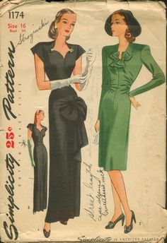 Simplicity 1174, 1944; Misses' and Women's Daytime and Evening Dress: Dress is seamed down center front and back. Has darts at back shoulder and waistline, is finished with soft gathers at side front. Style 1, evening length, has front sash at hip which is stitched in side seams and ends fasten in a soft bow. Dress is finished with short sleeves, sweetheart neck. Style II, short length, V neckline with openings at each side for bow to pull through and tie. Sleeves are long. Style III i...