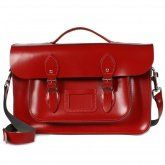 """Bohemia Leather Briefcase Satchel, 15"""" Deep Red"""