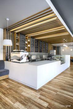 Kawiarnia C Corner Cafe projektu pracowni Ideograf 🇵🇱 - PLN Design Bakery Shop Design, Coffee Shop Design, Cafe Design, Restaurant Interior Design, Modern Interior Design, Cafe Counter, Food Counter, Cafe Pictures, Corner Cafe