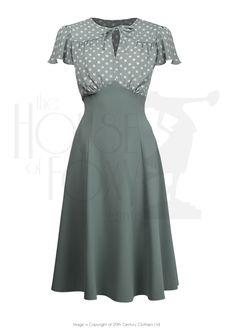 1940s Grable Tea Dance Dress in Sage Green Polka Dot