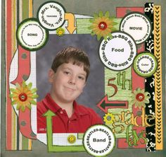 School scrapbook layout - love the circles!
