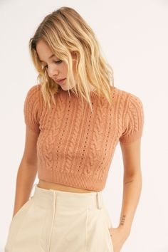 Short + Sweet Crop by Intimately at Free People, Brown, XS Shoulder Length Hair, Knitting Designs, Fitness Fashion, Cap Sleeves, Knitwear, Free People, Cute Outfits, Emo Outfits, My Style