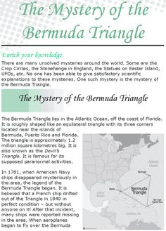 Grade 8 Reading Lesson 5 Nonfiction – The Mystery Of The Bermuda Triangle