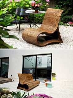 12 Outdoor Furniture Designs That Add A Sculptural Element To Your Backyard // An intricate wood lamination technique used on laminated coco and rattan is what gives this unique chair its uncommon shape and form. The resin finish makes it suitable for both indoor and outdoor enjoyment.