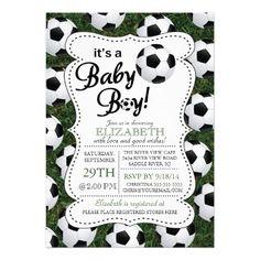 It's a Baby Boy Soccer Baby Shower Custom Invite