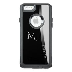 Elegant black white silver name and monogram OtterBox iPhone 6/6s case - black and white gifts unique special b&w style